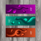 Horizontal banner set with abstract dynamic background design. Fluid colors on colorful gradient background. Eps10 vector illustration.