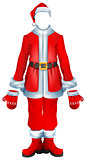 Fur coat santa accessory traditional Christmas clothes. Hat, suit, mittens, boots