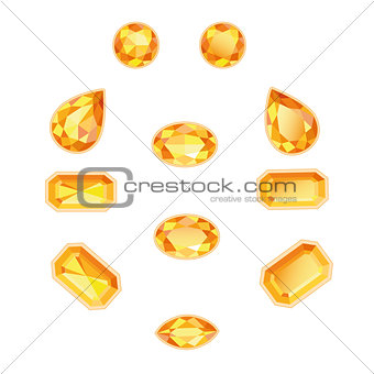 Amber Topaz Set Isolated Objects