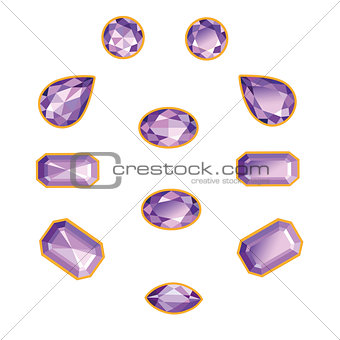 Amethyst Set Isolated Objects