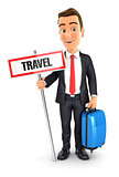 3d businessman travel concept