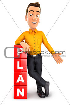3d man leaning against cubes with the word plan