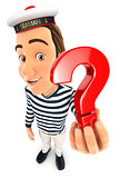 3d seaman holding a question mark icon