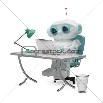 3D Illustration of the Little Robot Behind the Table