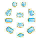 Blue Diamond Set Isolated Objects