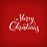 Merry Christmas calligraphy Lettering. Creative typography for Holiday Greeting Card on red background.