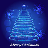 Shining Christmas tree winter background