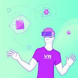 Man using Virtual reality glasses concept