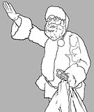 Santa Claus Waving and Holding a Sack