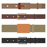 Set of different flat colored belts, vector illustration.