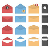 Set of colored paper envelopes, vector illustration.