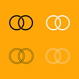 Wedding rings black and white set icon.