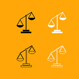 Law scale black and white set icon.