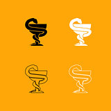 Snake and cup black and white set icon.