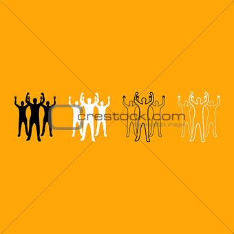 Business people black and white set icon.
