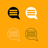 Comments black and white set icon.