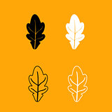 Oak leaf black and white set icon.