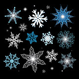 New Year vector set of different snowflakes