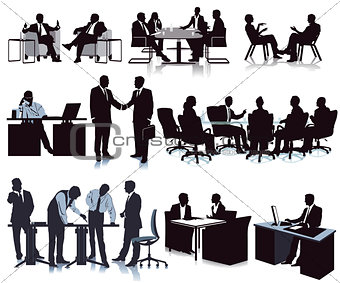 Meeting in the office, conference, discussion, illustration