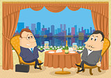 Two gentleman businessman in Restaurant