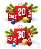 christmas shopping bag printed with a twenty and thirty discount. Vector