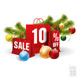 christmas shopping bag printed with a ten discount. Vector. Isolated