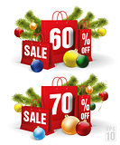 christmas shopping bag printed with a sixty and seventy discount. Vector
