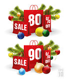 christmas shopping bag printed with a eighty and ninety discount. Vector