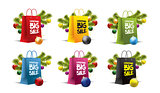 christmas paper bags on white. Vector. Isolated. Colored