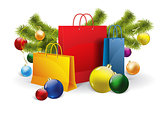 christmas shopping bags on white. Vector