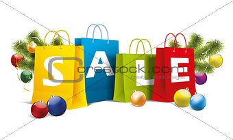 christmas colored paper bags on white. Vector