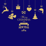 Set of hanging golden Christmas ornaments on dark blue backgroun