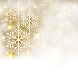 White golden winter, Christmas background with snowflakes and st
