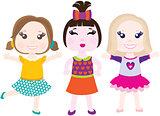 Vector illustration of three little smiling girls