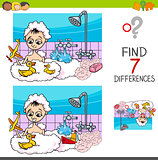 differences game with boy playing in bath