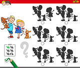 educational shadow game with kids and dogs