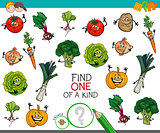 one of a kind game with vegetable characters