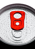Aluminium soda drink tin top view with dew drops