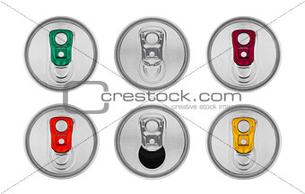 Aluminium soda drink tin top view isolated