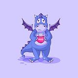 Vector Emoji character cartoon dragon dinosaur nervous with cup of coffee sticker emoticon