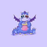 Vector Emoji character cartoon dragon dinosaur chewing popcorn, watching movie 3D glasses sticker emoticon