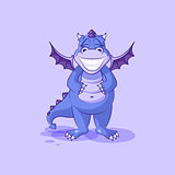 Vector Emoji character cartoon dragon dinosaur with a huge smile from ear to ear sticker emoticon