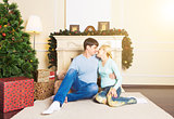 Couple spending Christmas together at home