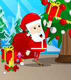 Santa Claus reach out for a gift box.