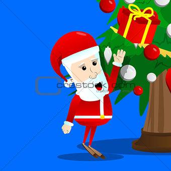Santa Claus reach out for a gift box.