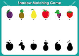 Shadow matching game, activity page for kids. Find the right, correct shadow task for kids preschool, fruits and shadows