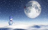 3D Christmas landscape with snowman waving to santa in the sky
