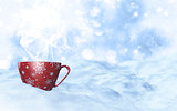 3D Christmas mug in snowy landscape