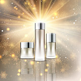 Christmas cosmetic bottles display background