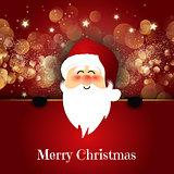 Cute Santa on bokeh lights background